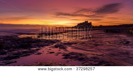 Sunrise On Bamburgh Beach