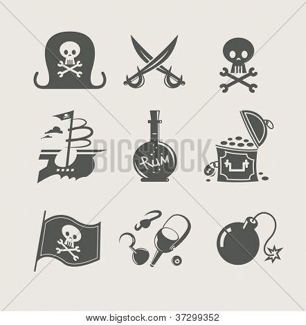 pirates accessory set of icon vector illustration