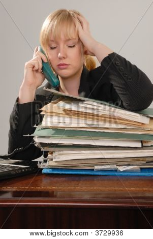 Stressed Businesswoman On Phone
