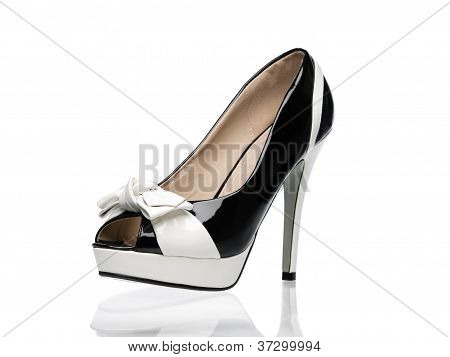 Black And White Patent Leather Sexy Shoe