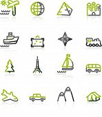 Green-Gray Travel Icons poster