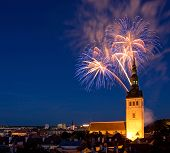 picture of saint-nicolas  - Fireworks in the Old Town of Tallinn - JPG