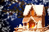 image of ginger-bread  - picture of gingerbread house over christmas background - JPG