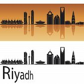 image of riyadh  - Riyadh skyline in orange background in editable vector file - JPG