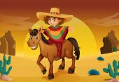 stock photo of vaquero  - illustration of man and horse in a desert - JPG