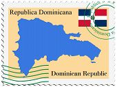stamp with map and flag of Dominican Republic