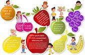 Colorful template for advertising brochure with fruits and cartoon children