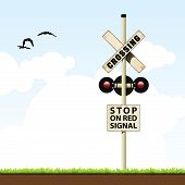 picture of railroad-sign  - vector illustration of a railroad crossing sign - JPG