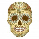 foto of day dead skull  - Day of The Dead colorful Skull with floral ornament - JPG
