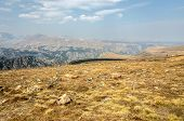 image of beartooth  - View of hairpin turn and the Absaroka - JPG
