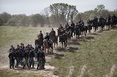 SHARPSBURG, MARYLAND - SEPTEMBER 16: Union Cavalry ride at the 150th anniversary of civil war battle