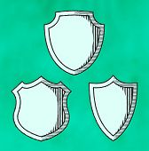 Set Of Woodcut Shields