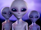 stock photo of alien  - portrait of three aliens looking at the camera - JPG