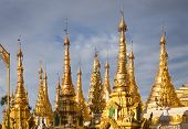 picture of yangon  - Part of the golden Shwedagon Pagoda Yangon Burma Southeast Asia - JPG