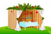foto of sukkoth  - vector illustration of decorated sukkah for celebrating Sukkot - JPG