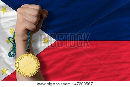 Gold Medal For Sport And  National Flag Of Philippines