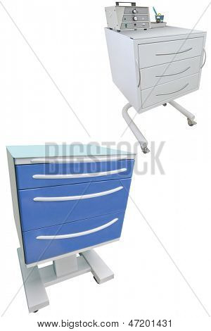 Medical movable bedside-tables isolated under the white background