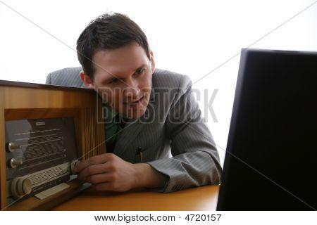 Man Listening Radio