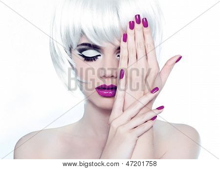 Makeup And Manicured Polish Nails. Fashion Style Beauty Woman Portrait With White Short Hair.