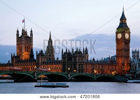 Victoria Tower and big ben at House of Parliament and City of Westminster London England UK dusk