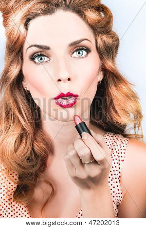 Retro Beauty Pin Up Girl Applying Lipstick Makeup