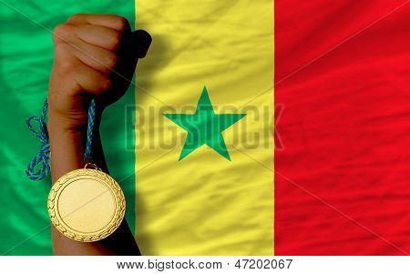 Gold Medal For Sport And  National Flag Of Senegal