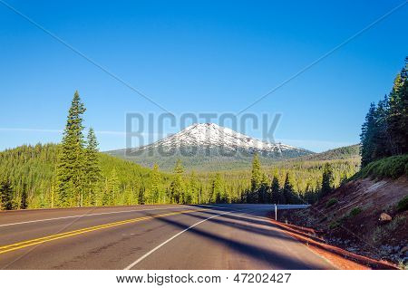 Highway And Mount Bachelor