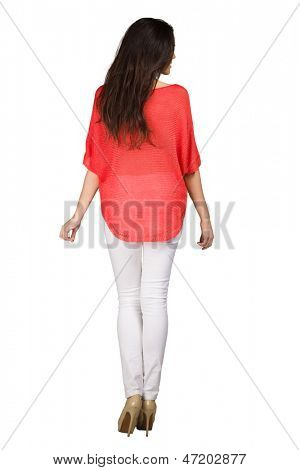 Back beautiful woman in red blouse isolated on white