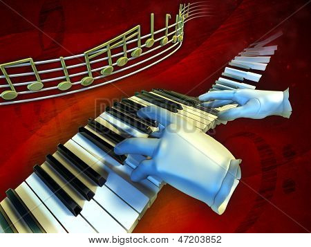 A pair of gloves playing music on a floating piano keyboard. Digital illustration.