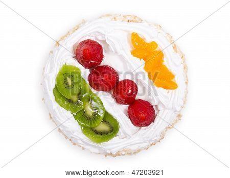 Bolo de pudim de fruta fresca de vista superior
