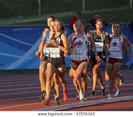 Track Female Athletes Running Sun Canada