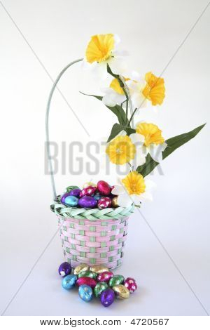Easter Egg Basket Decorated With Flowers.