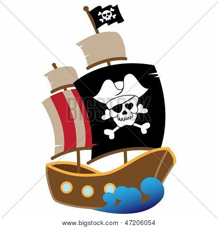 Vector Illustration of a Pirate Ship