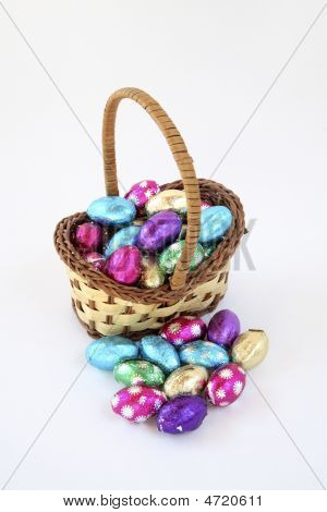 Miniature Easter Basket Of Eggs.