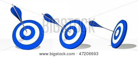 High resolution concept or conceptual blue darts set target board with an arrow in the center isolated on white background
