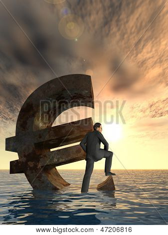 High resolution conceptual currency euro symbol and 3D businessman sinking in ocean as a concept for European crisis