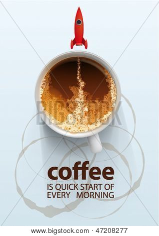 coffee is quick start of every morning, vector illustration