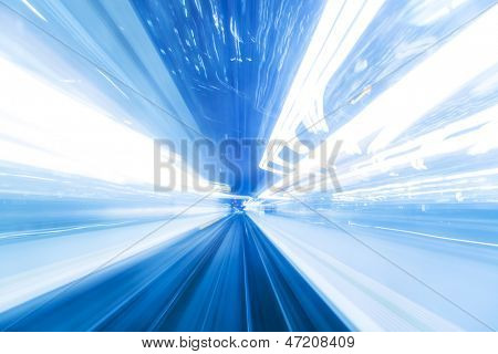 Speed motion at night in blue light - Abstract Light