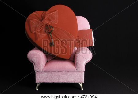 Big Heart On Pink Arm Chair