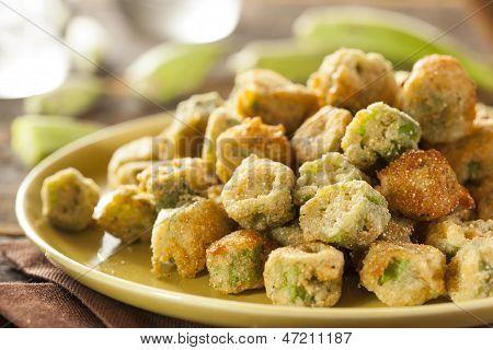 Organic Homemade Fried Green Okra
