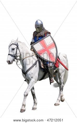 Armoured Knight On White Warhorse