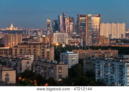 Late Summer Blue Twilight Over Moscow City