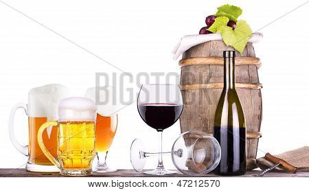 Grapes On A Barrel With Corkscrew And   Beer  Glass