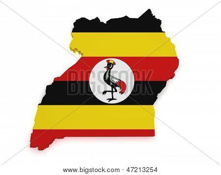 Uganda Map 3D Shape