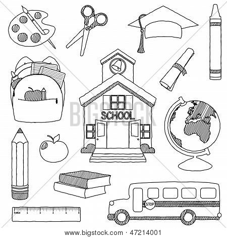 Vector Set of Hand Drawn Doodle School Vector