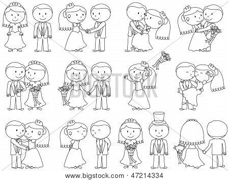 Cartoon Stick People Wedding Themed Vectors