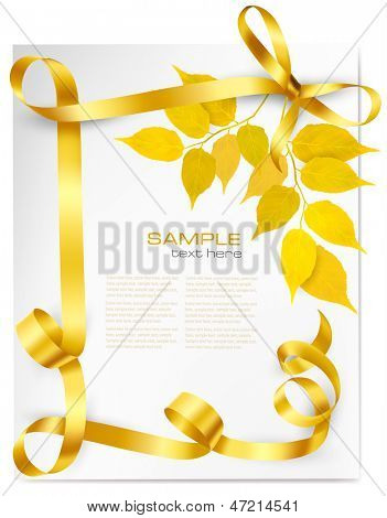 Autumn background with yellow leaves and gold ribbons. Back to school Vector illustration