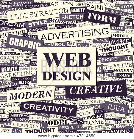WEB DESIGN. Word cloud concept illustration.