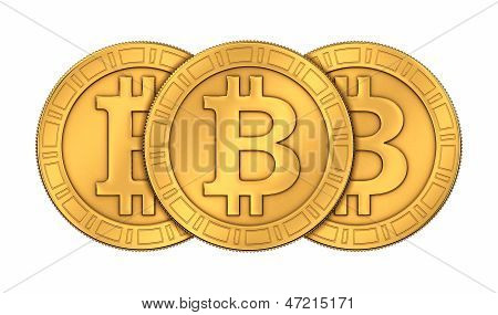 Frontal View Of Three 3D Rendered Engraved Golden Bitcoins On White