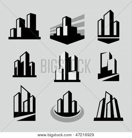 Vector city buildings silhouette icons